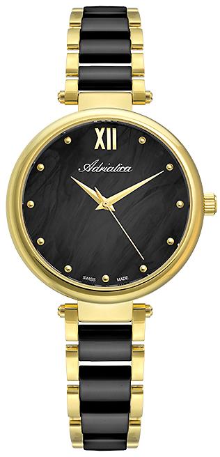 Piękny, damski zegarek Adriatica na bransolecie z ceramiki jak i stali w kolorze czarnym i złotym. tarcza zegarka jest analogowa w czarnym kolorze z masy perłowej.