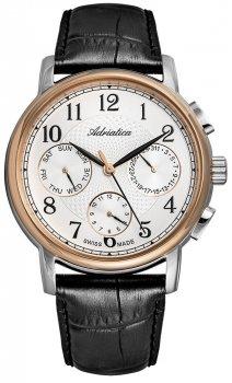Klasyczny, męski zegarek Adriatica A8256.R223QF na skórzanym, czarnym pasku z stalową kopertą w kolorze różowego złota oraz srebra. Tarcza zegarka jest biała z trzema subtarczami oraz z indeksami i wskazówkami w czarnym kolorze.