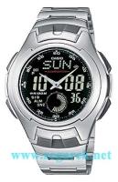 Zegarek męski Casio analogowo - cyfrowe AQ-160WD-1BVEF - duże 2