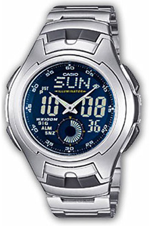Zegarek męski Casio analogowo - cyfrowe AQ-160WD-2BVEF - duże 1
