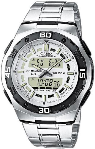 Zegarek męski Casio analogowo - cyfrowe AQ-164WD-7AVEF - duże 1