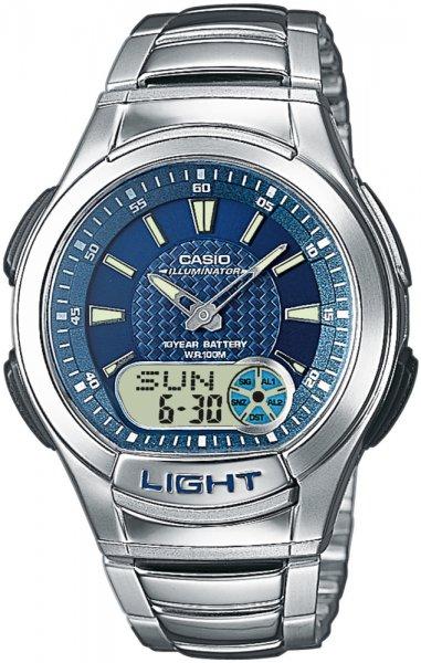 Zegarek męski Casio analogowo - cyfrowe AQ-180WD-2AV - duże 1