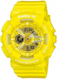 Sportowy, damski zegarek Baby-G BA-110BC-9AER na pasku i kopercie wykonanych z tworzywa sztucznego w żółtym kolorze. Analogowo-cyfrowa tarcza zegarka jest w żółtym kolorze z białymi jak i srebrnymi detalami takimi jak wskazówki czy napisy.