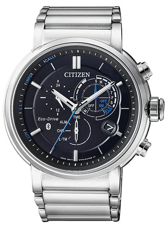 Wyjątkowy, męski zegarek Citizen BZ1006-82E Smartwatch z okrągłą kopertą wykonaną ze stali w srebrnym kolorze.