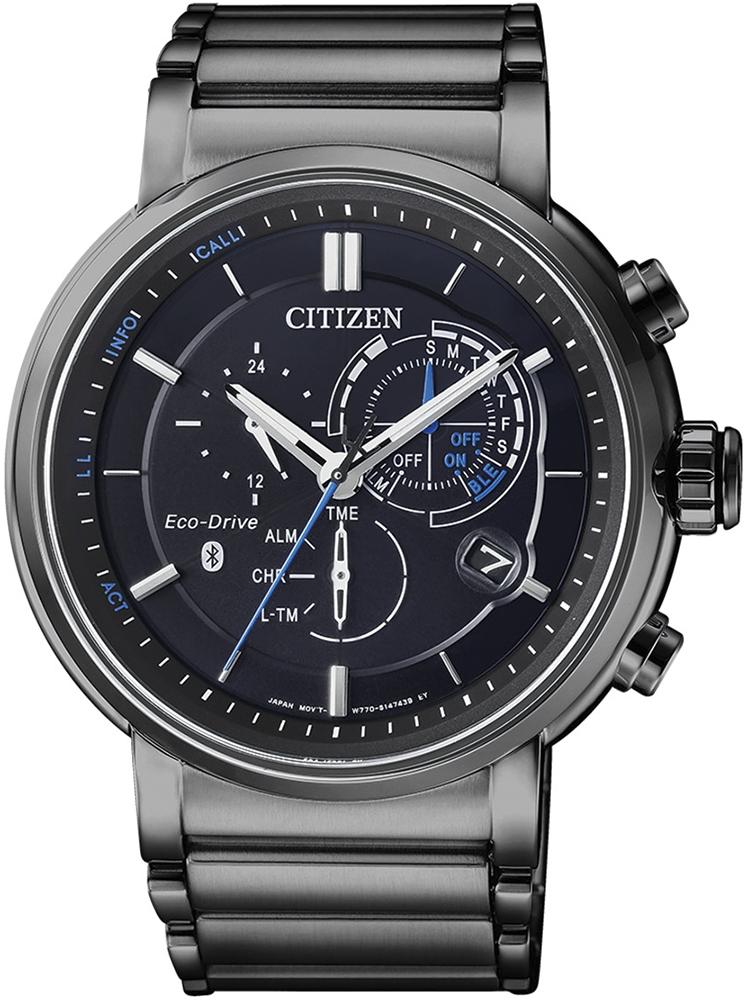 Niezwykle atrakcyjny, męski zegarek Citizen BZ1006-82E Smartwatch z analogową tarczą w czarnym kolorze z indeksami oraz wskazówkami w dwóch kolorach takich jak biały i niebieski.