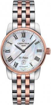 Elegancki jak i luksusowy, damski zegarek Certina C001.007.22.113.00 DS Podium Lady Automatic 29mm na stalowej bransolecie w kolorze różowego złota i srebra. Okrągła koperta jest ze stali również w srebrnym kolorze. Bezel zegarka jest w kolorze różowego złota, a analogowa tarcza okrągła z masy perłowej. Na tarczy znajduję się równiez datownik na godzinie szóstej oraz indeksy i wskazówki w czarnym kolorze.