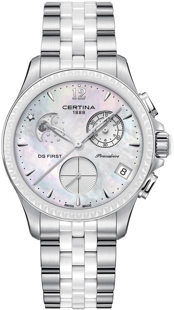 Elegancki, damski zegarek Certina C030.250.11.106.00 DS First Lady Chronograph Moon Phase na stalowo-ceramicznej bransolecie w dwóch kolorach: srebrnym oraz białym. Koperta zegarka jest stalowa w srebrnym kolorze. Tarcza zegarka została wykonana z masy perłowej. Na tarczy znajdują się również trzy subtarcze oraz datownik pokazujący dzień miesiąca.