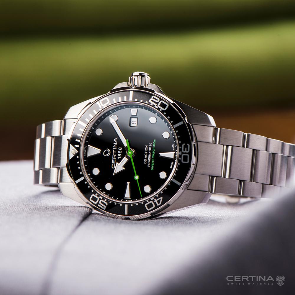Niezawodny, męski zegarek Certina z Szwajcarii z przeznaczeniem dla nurków.