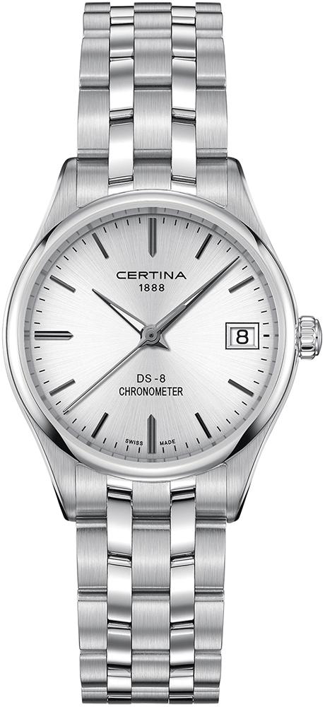 Klasyczny, damski zegarek C033.251.11.031.00 DS-8 Lady na bransolecie oraz kopercie ze stali w srebrnym kolorze. Analogowa tarcza zegarka Certina jest w srebrnym kolorze z datownikiem na godzinie trzeciej. Wskazówki jak i indeksy są w srebrnym kolorze.