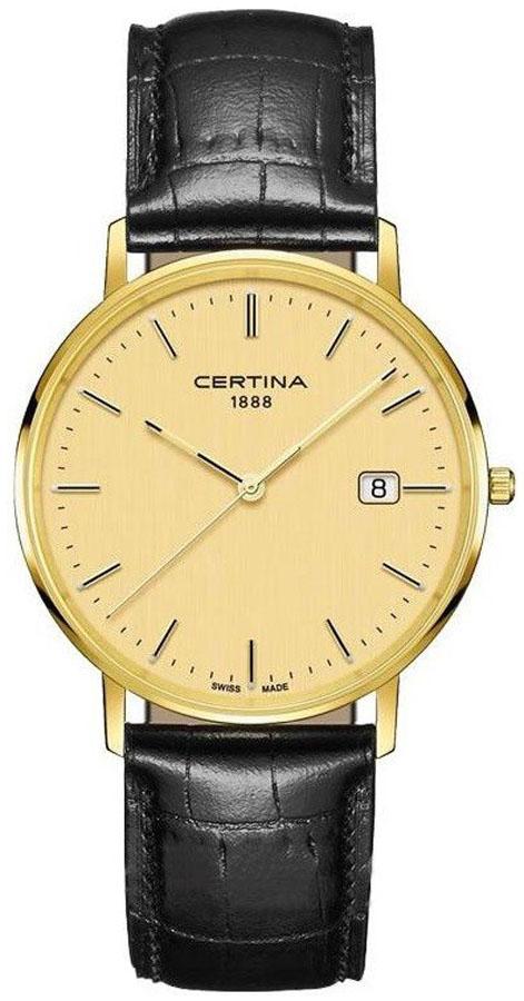 Luksusowy, męski zegarek Certina  C901.410.16.021.00 Priska Gold 18K na skórzanym pasku w czarnym kolorze z koperta wykonaną ze złota. Analogowa tarcza zegarka jest również wykonana ze słota z datownikiem na godzinie trzeciej. Wskazówki jak i indeksy są w złotym kolorze.