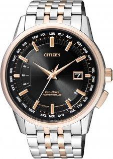 Elegancki, męski zegarek Citizen CB0156-66E Radio Controlled na bransolecie w kolorze srebrnym oraz różowego złota. Analogowa tarcza zegarka jest czarna z datownikiem na godzinie trzeciej.