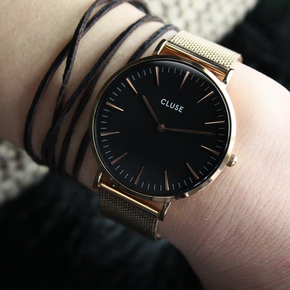 d0f157e75675cc Cluse CL18113 Rose Gold/Black zegarek damski - Sklep ZEGAREK.NET