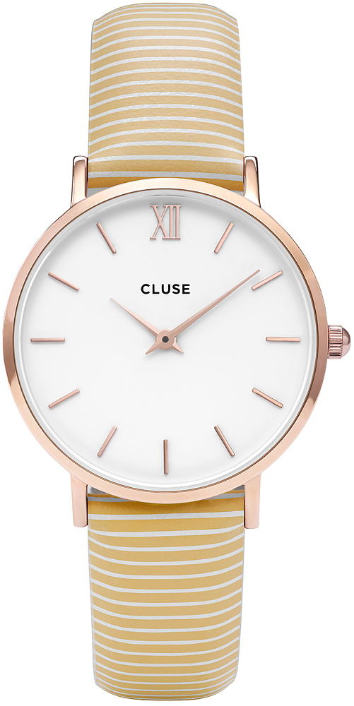 Cluse CL30032 Minuit Gold White/Yellow Stripes