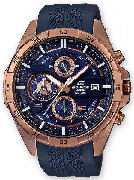 Sportowy, męski zegarek Casio Edifice EFR-556PC-2AVUEF Momentum na pasku z tworzywa sztucznego w niebieskim kolorze oraz stalowa koperta w kolorze różowego złota. Analogowa tarcza zegarka Edifice jest w kolorze niebieskim z subtarczami w kolorze różowego złota oraz białych akcentów.
