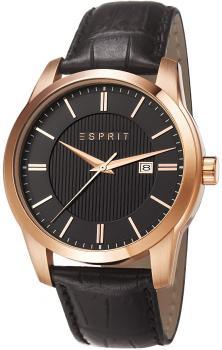Modny, męski zegarek Esprit ES107591003 na czarnym skórzanym pasku z kopertą wykonaną ze stali i pokryta PVD w kolorze różowego złota. Analogowa tarcza zegarka jest czarna z datownikiem na godzinie trzeciej oraz wskazówkami jak i indeksami w kolorze różowego złota.