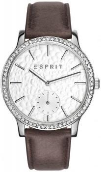 Elegancki, damski zegarek Esprit ES108112001 na skórzanym, brązowym pasku z kopertą wykonaną ze stali oraz bezelem ozdobionym cyrkoniami. Analogowa, zdobiona tarcza zegarka Esprit jest w białym kolorze z subtarczą na godzinie szóstej. Wskazówki jak i indeksy w postaci kresek są w srebrnym kolorze.