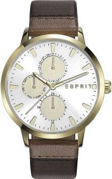 Elegancki, damski zegarek Esprit ES108532002 na skórzanym pasku w brązowym kolorze z kopertą ze stali pokryta PVD w złotym kolorze. Analogowa tarcza zegarka jest w srebrnym kolorze z trzema subtarczami w złotym kolorze. Wskazówki jak i indeksy są w złotym kolorze.