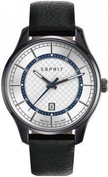 Klasyczny, męski zegarek Esprit ES108721002 na skórzanym czarnym pasku z okrągłą, stalową, czarną kopertą. Tarcza zegarka jest w srebrnym kolorze z ozdobną szachownicą na srodku. Wskazówki jak i indeksy zegarka Esprit są w srebrnym kolorze.