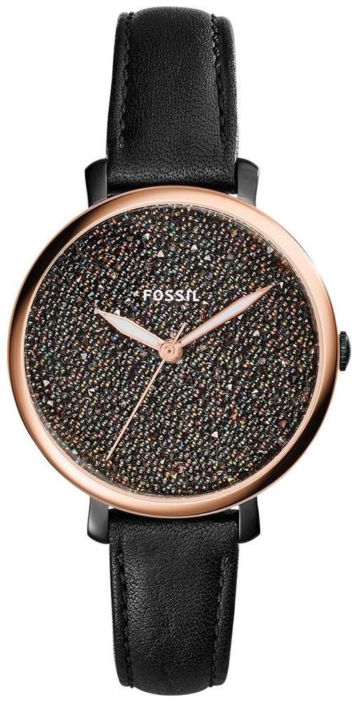 Modny, damski zegarek Fossil ES4097 Jacqueline na skórzanym pasku ze stalową kopertą w kolorze różowego złota. Tarcza zegarka jest różnokolorowa w drobne kryształki. Wskazówki zegarka są w kolorze różowego złota.