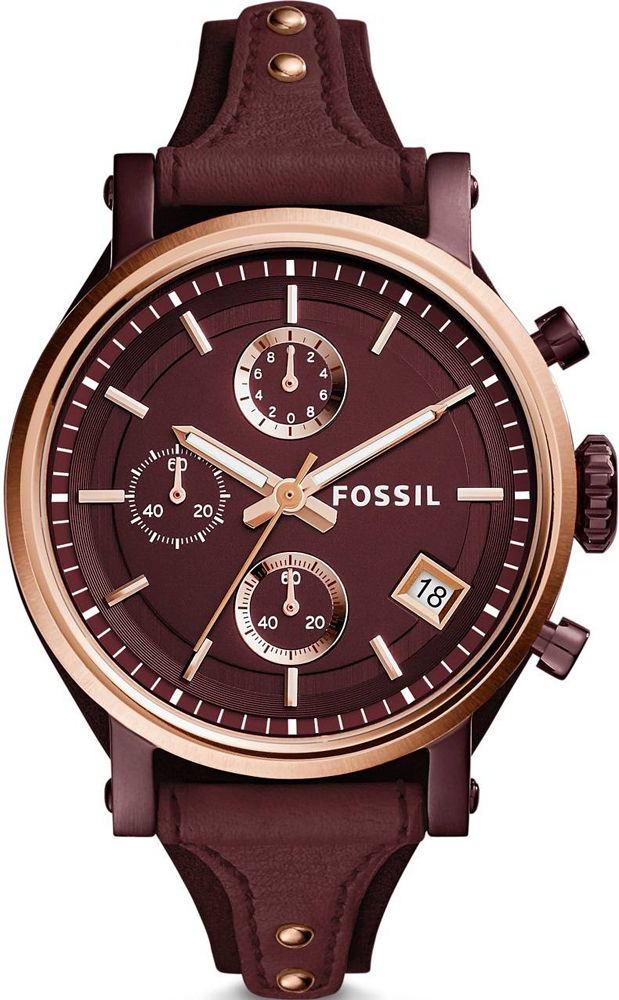 Stylowy, damski zegarek Fossil ES4114 ORIGINAL BOYFRIEND na czerwonym, skórzanym pasku z kopertą wykonana ze stali w kolorze różowego złota i czerwonym. Analogowa tarcza zegarka jest w czerewonym kolorze oraz posiada trzy subtarcze oraz datownik na godzinie czwartej.