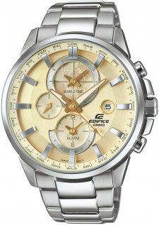 Klasyczny, męski zegarek Casio Edifice ETD-310D-9AVUEF Momentum na bransolecie w srebrnym kolorze wykonanej ze stali. Koperta zegarka jest ze stali w srebrnym kolorze. Analogowa tarcza zegarka jest w beżowym kolorze z trzema subtarczami oraz datownikiem na trzeciej godzinie. wskazówki są w srebrnym kolorze a wskazówki w złotym jak i beżowym.