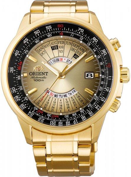 Wielofunkcyjny, męski zegarek Orient FEU07004UX Classic Automatic na bransolecie jak i kopercie ze stali z powłoka PVD w złotym kolorze. Analogowa tarcza zegarka jest złoto czarna z wieloma użytecznymi funkcjami jak: datownik czy wieczny kalendarz. Wskazówki jak i indeksy są w złotym kolorze.