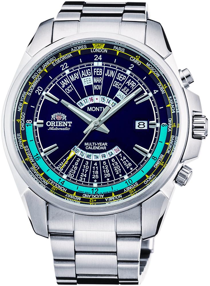 Klasyczny, męski zegarek Orient FEU0B002DH Classic Automatic na bransolecie i kopercie wykonanych ze stali w srebrnym kolorze. Tarcza zegarka jest w kolorze niebieskim z wiecznym kalendarzem oraz datownikiem na godzinie trzeciej.