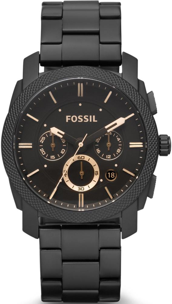 Elegancki, męski zegarek Fossil FS4682 MACHINE na czarnej, klasycznej bransolecie ze stali. Koperta zegarka jest w czarnym kolorze ze stali tak samo jak bransoleta. Analogowa tarcza jest w czarnym kolorze z indeksami i subtarczami w kolorze różowego złota.
