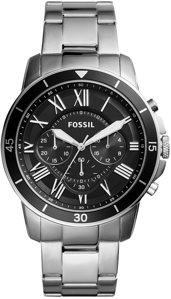 Klasyczny, męski zegarek Fossil FS5236 Grant na bransolecie oraz kopercie w kolorze srebrnym wykonanej ze stali. Analogowa tarcza zegarka jest w czarnym kolorze z trzema subtarczami. Indeksy jak i wskazówki są w kolorze srebrnym.