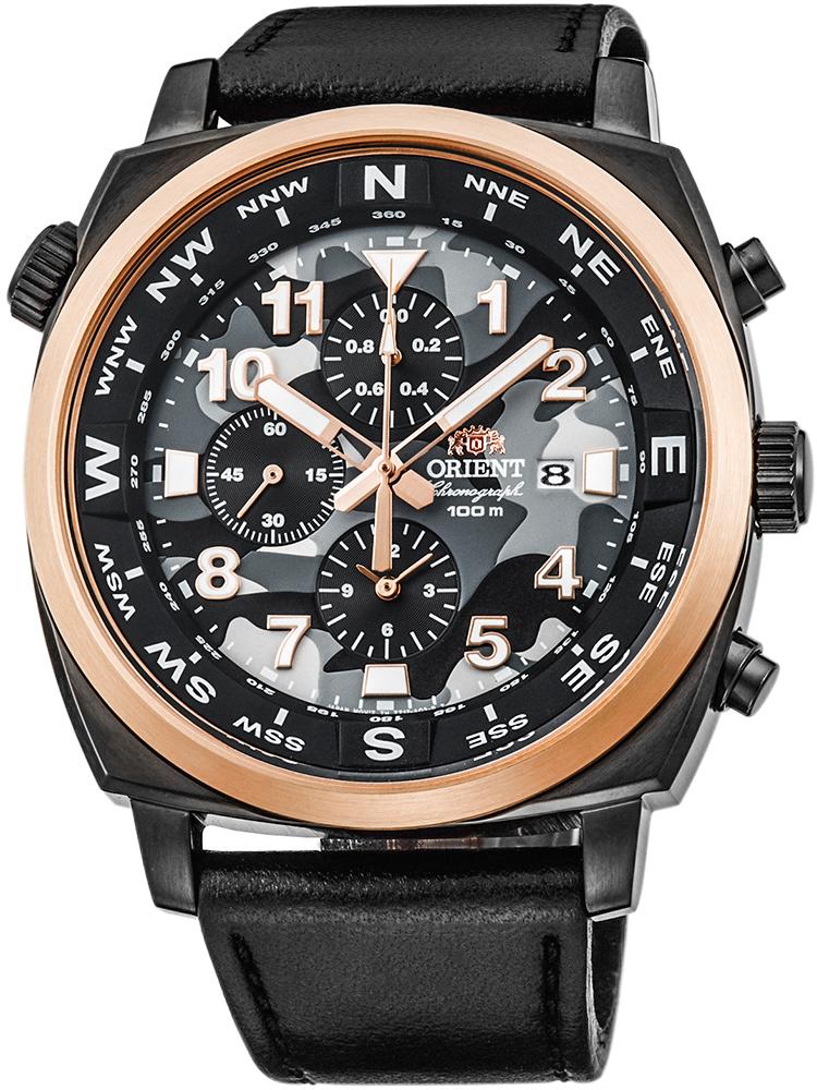 Sportowy, męski zegarek Orient FTT17003B0 na skórzanym czarnym pasku ze stalową kopertą w czarnym kolorze. Bezel zegarka jest w kolorze różowego złota a sama tarcza posiada trzy subtarcze oraz datownik na godzinie trzeciej oraz cała tarcza ma wzór moro. Wskazówki jak i indeksy są w kolorze różowego złota oraz białego.