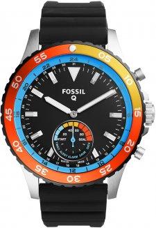 Stylowy, męski smartwatch Fossil Q FTW1124 Q Crewmaster Hybrid Smartwatch na czarnym pasku z tworzywa sztucznego z kopertą wykonaną ze stali w srebrnym kolorze. Bezel zegarka Fossil Q jest w takich kolorach jak żółty, pomarańczowy i czerwony. Analogowa tarcza zegarka jest w czarnym kolorze z białymi indeksami jak i wskazówkami.