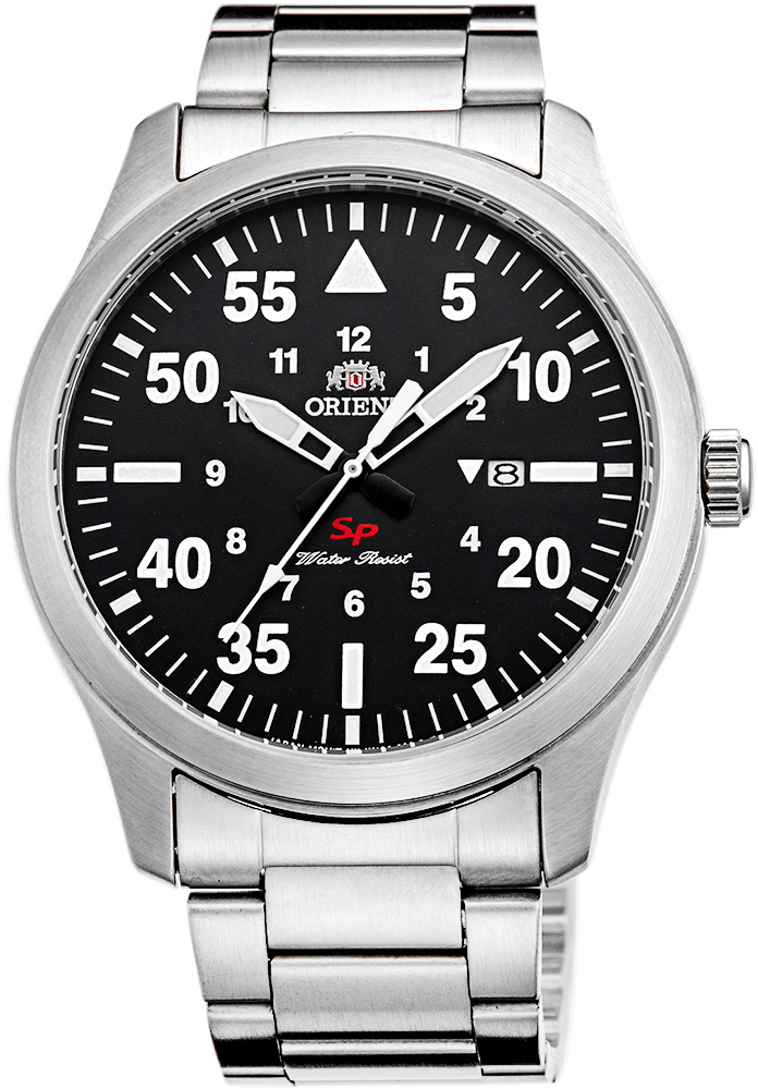 Klasyczny, męski zegarek Orient FUNG2001B0 na srebrnej bransolecie wykonanej ze stali. Koperta zegarka jak bransoleta została wykonana ze stali w srebrnym kolorze. Analogowa tarcza zegarka jest w czarnym kolorze z białymi indeksami oraz logo na godzinie trzeciej.