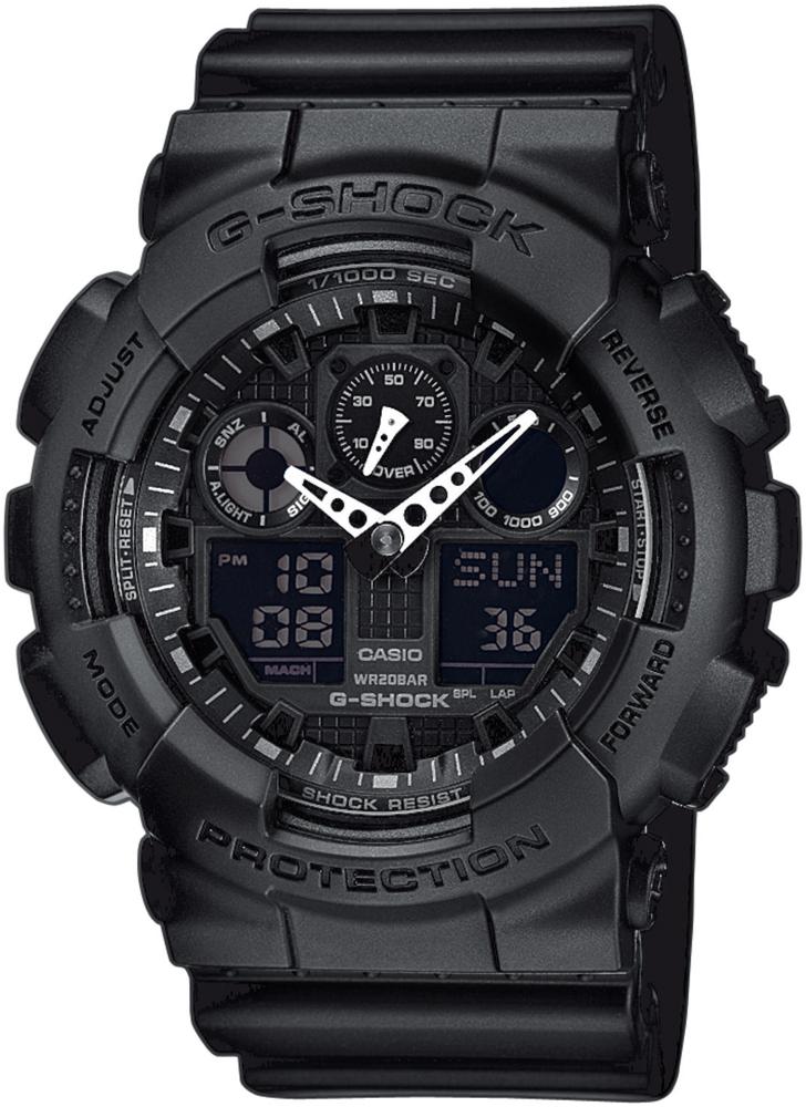 Sportowy, męski zegarek G-Shock GA-100-1A1ER Big Bang cały w kolorze czarnym. Zegarek G-Shock posiada analogowo-cyfrowa tarczę na której są wskazówki w srebrnym kolorze.