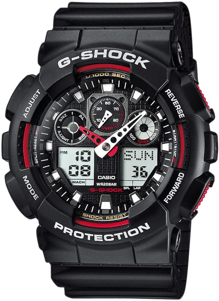 Sportowy, męski zegarek G-Shock GA-100-1A4ER Red Giant na pasku oraz kopercie wykonanych z tworzywa sztucznego. Analogowo-cyfrowa tarcza jest w czarnym kolorze z czerwonymi akcentami.