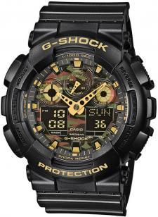 Sportowy, męski zegarek G-Shock GA-100CF-1A9ER Original na pasku z tworzywa sztucznego w czarnym kolorze oraz kopercie wykonanej z tego samego materiału jak i w tym samym kolorze. Analogowo-cyfrowa tarcza jest wielokolorowa z motywem wojskowym. Wskazówki są w kolorze żółtym.