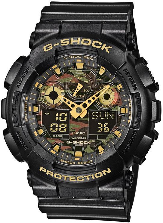 Sportowy, męski zegarek G-Shock na pasku z tworzywa sztucznego koperta zegarka jest z tworzywa sztucznego w czarnym kolorze a tarcza zegarka posiada motyw militarny.