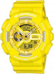 Sportowy, męski zegarek G-Shock GA-110BC-9AER Original na pasku i kopercie wykonanych z tworzywa sztucznego w żółtym kolorze. Analogowo-cyfrowa tarcza zegarka jest w żółtym kolorze z białymi detalami takimi jak wskazówki.