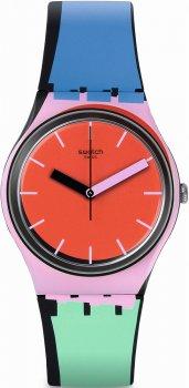 Stylowy, damski zegarek Swatch  GB286 À COTÉ na różnokolorowym pasku oraz z koperta wykonanych z tworzywa sztucznego. Tarcza zegarka Swatch jest minimalistyczna w czerwonym kolorze z wskazówkami i indeksami w kolorze różowym jak i czarnym.