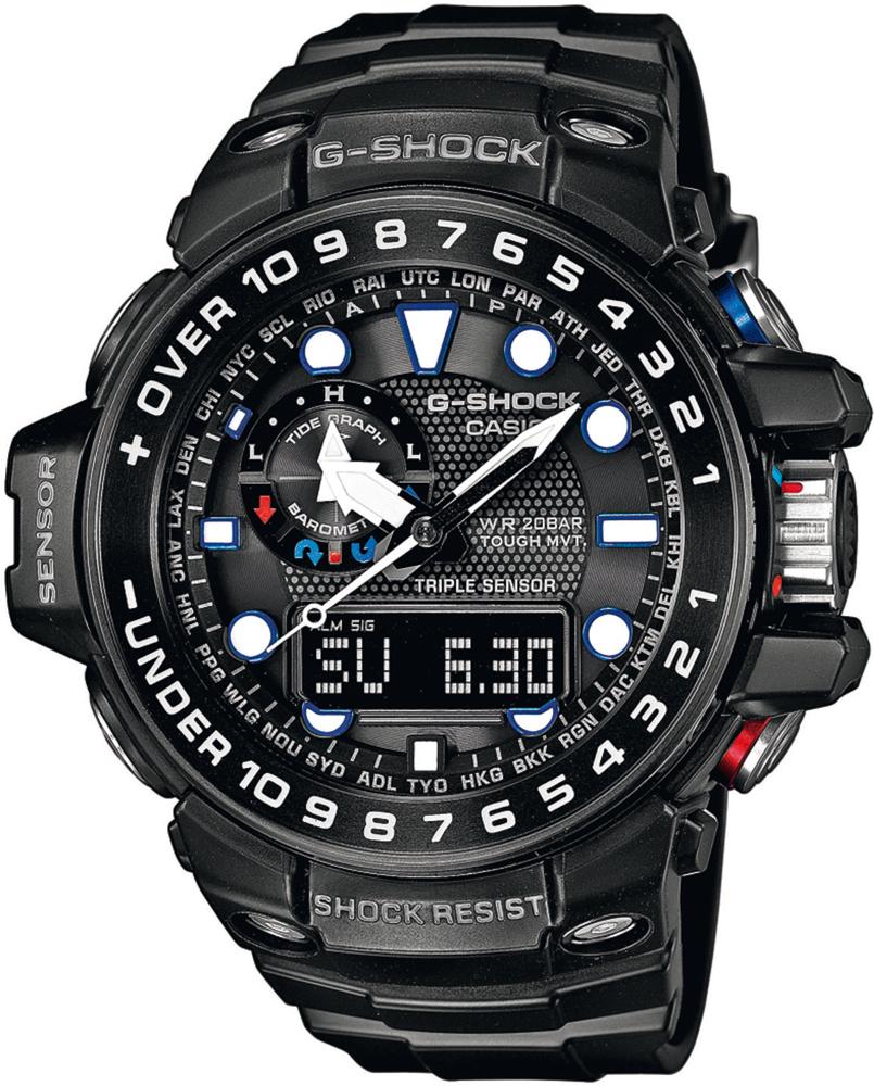 Sportowy, męski zegarek G-Shock GWN-1000B-1AER Gulfmaster na pasku wykonanym z tworzywa sztucznego z kopertą w czarnym kolorze z tworzywa sztucznego. Wielofunkcyjna tarcza jest cyfrowo-analogowa w czarnym kolorze.