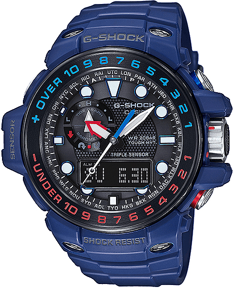 Sportowy, męski zegarek G-Shock GWN-1000H-2AER Master of G na pasku i kopercie wykonanych z tworzywa sztucznego w niebieskim kolorze. Analogowo-cyfrowa tarcza jest w czarnym kolorze  z czerwonymi jak i niebieskimi akcentami. Wskazówki jak i indeksy są w białym kolorze.