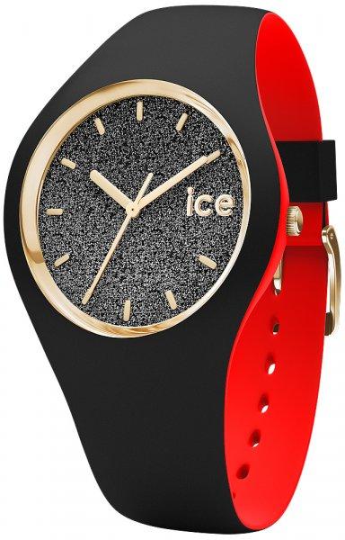 Młodzieżowy, damski zegarek Ice Watch ICE.007227 na pasku z tworzywa sztucznego w czarnym i czerwonym kolorze, koperty z tworzywa sztucznego w czarno złotym kolorze oraz tarczy w czarnym kolorze pokrytej brokatem i podkreślonej dzięki złotym indeksom jak i wskazówkom.