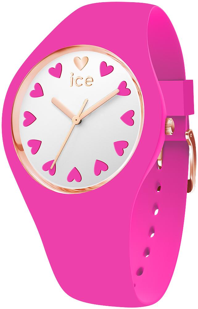 Modowy, damski zegarek Ice Watch ICE.013369 Love 2017 z kopertą i paskiem wykonanych z tworzywa sztucznego w kolorze różowym. Tarcza zegarka jest biała i ozdobiona różowymi serduszkami zamiast indeksów. Wskazówki zegarka są w kolorze różowego złota.
