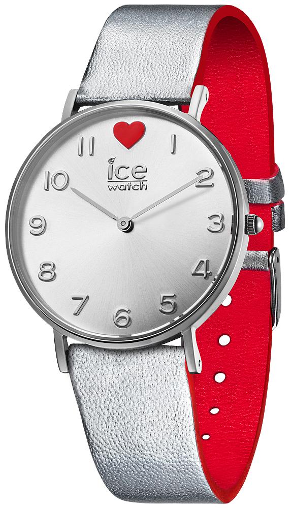 Klasyczny, damski zegarek Ice Watch ICE.013375 Love 2017 na pasku w srebrnym oraz czerwonym kolorze. Okrągła koperta zegarka jest ze stali w srebrnym kolorze. Tarcza zegarka jest w srebrnym kolorze z serduszkiem na dwunastej godzinie. Wskazówki jak i indeksy są w srebrnym kolorze.