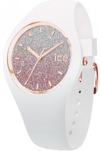 Modny, damski zegarek Ice Watch  ICE.013431 ICE lo White Pink na pasku i kopercie z tworzywa sztucznego w białym kolorze. Tarcza zegarka Ice Watch jest brokatowe ombre.