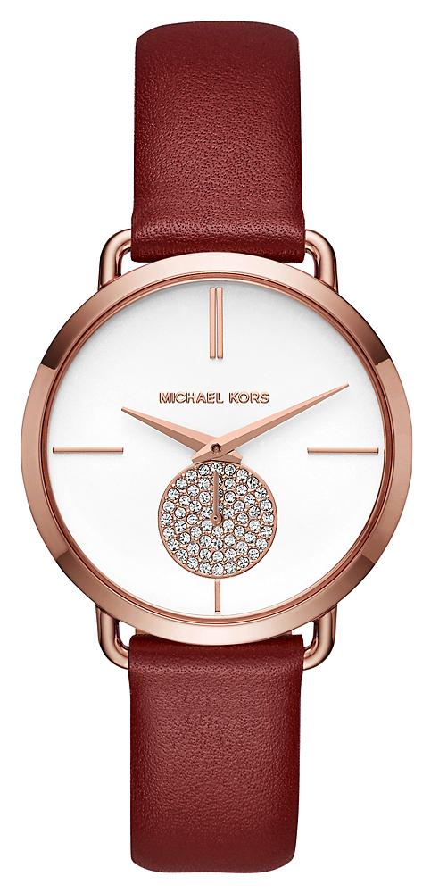 Elegancki zegarek Michael Kors na skórzanym pasku w bordowym kolorze.