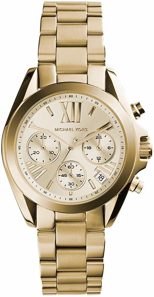 Elegancki, damski zegarek Michael Kors MK5798 MINI BRADSHAW na bransolecie oraz kopercie ze stali z powłoką PVD w kolorze złota. Analogowa tarcza zegarka jest w kolorze złota z trzeba subtarczami oraz datownikiem na godzinie czwartej.