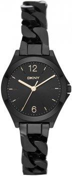 Elegancki, damski zegarek DKNY NY2426 na stalowej, czarnej bransolecie w kształcie łańcuszka. Koperta zegarka jest jest ze stali w czarnym kolorze. Minimalistyczna, czarna tarcza zegarka posiada indeksy oraz wskazówki w złotym kolorze w postaci cieniutkich kreseczek.