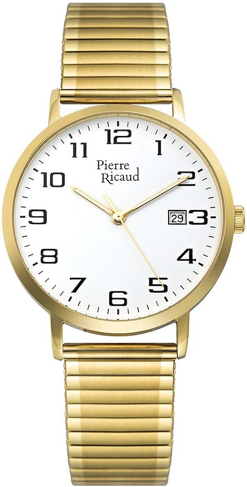Klasyczny, męski zegarek Pierre Ricaud P91097.1122Q na złotej rozciągliwej bransolecie ze stali w złotym kolorze, z tego samego materiału oraz w tym samym kolorze jest wykonana koperta. Tarcza zegarka Pierre Ricaud jest analogowa w białym kolorze z czarnymi indeksami oraz złotymi wskazówkami.