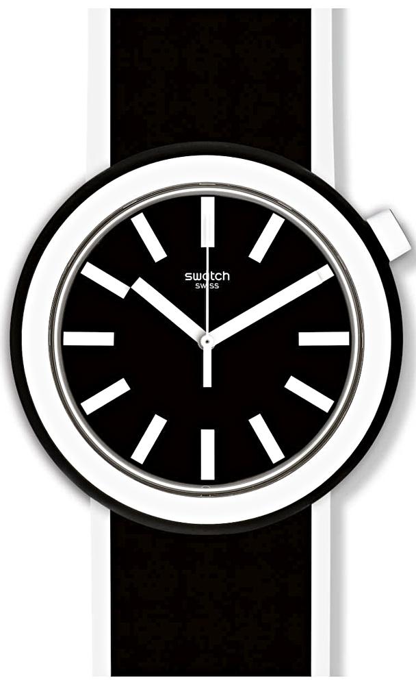 Młodzieżowy, męski zegarek Swatch PNB100 POPLOOKING na pasku z tworzywa sztucznego w czarnym kolorze, koperta zegarka jest z tworzywa sztucznego w biało - czarnym kolorze. Analogowa tarcza zegarka jest w czarnym kolorze z białymi indeksami oraz wskazówkami.