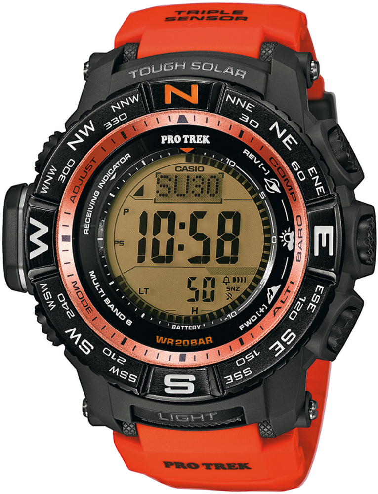 Sportowy, męski zegarek Casio ProTrek PRW-3500Y-4ER Pro Trek Cerro Miscanti na pasku wykonanego z tworzywa sztucznego w pomarańczowym kolorze oraz kopercie w czarnym kolorze. Cyfrowa tarcza zegarka Casio ProTrek jest w czarnym kolorze.
